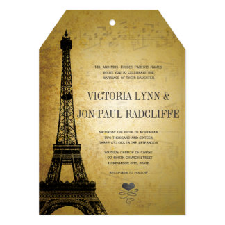 Gold Eiffel Tower Vintage Musical Notes Wedding Card