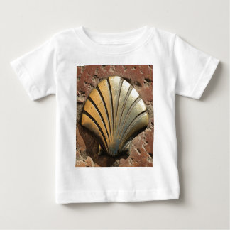 Gold El Camino shell sign, pavement, Leon, Spain Baby T-Shirt