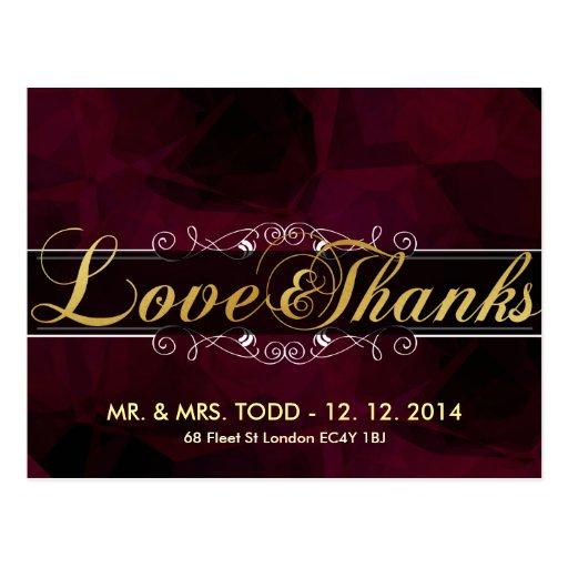 Gold Elegance Love and Thanks Wedding Postcards