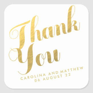 Gold Elegance | Wedding Favor Thank You Sticker