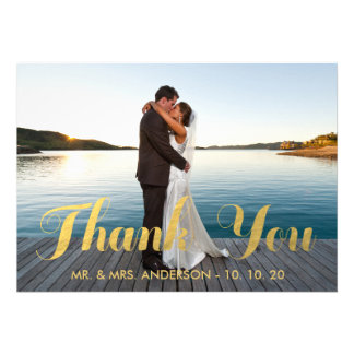 GOLD ELEGANCE WEDDING THANK YOU CARD