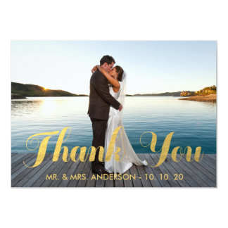 "GOLD ELEGANCE | WEDDING THANK YOU PHOTO CARD 5"" X 7"" INVITATION CARD"