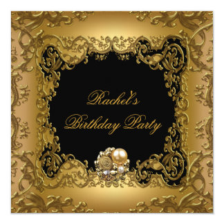 "Gold Elegant Black Gold Birthday Party Jewel 5.25"" Square Invitation Card"