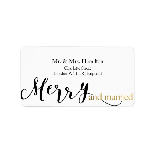 Gold Elegant Merry and Married  Christmas Label