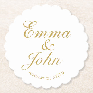 GOLD ELEGANT NAMES wedding pub custom coaster