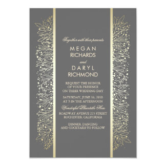 Gold Elegant Vintage Baby's Breath Wedding Card