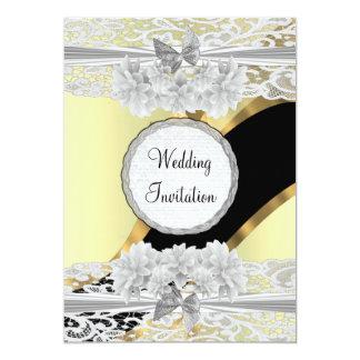 "Gold elegant white lace  wedding 5"" x 7"" invitation card"