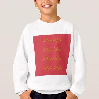 Gold elements on pink sweatshirt