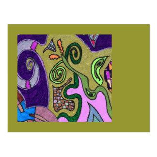 """Gold Elephant"" original abstract Postcard"