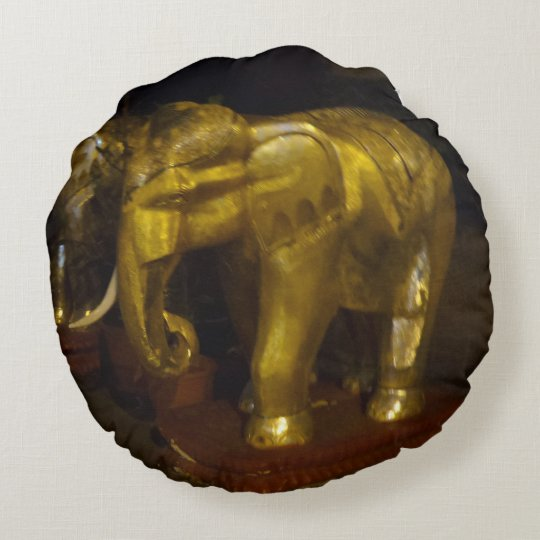 Gold Elephant Round Pillow