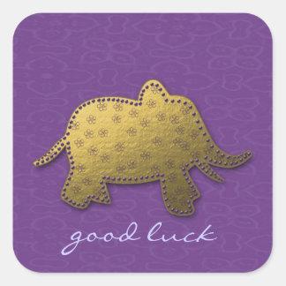 gold elephant square sticker