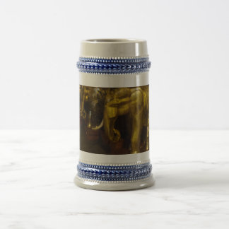 Gold Elephants Gray /Blue 22 oz Stein