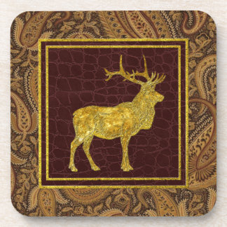 Gold Elk Paisley and Leather Patterns Coaster