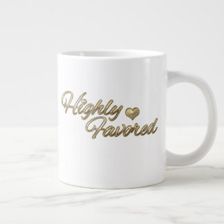 Gold Embossed Highly Favored Large Coffee Mug