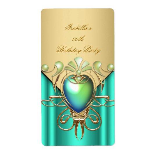 Gold Emerald Jade Green Elegant Birthday Party Shipping Label