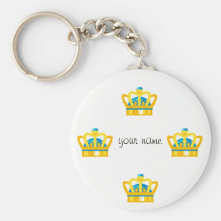 """Gold Emoji Crown   and '' Your Name Here """" Keychain"""
