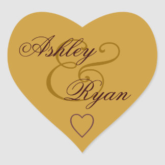 Gold Envelope Seal Wedding Heart Sticker