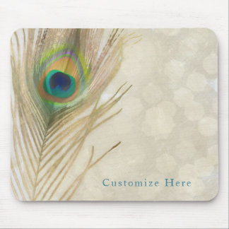 Gold Exotic Peacock Feather Glam Elegant Chic Mouse Pad