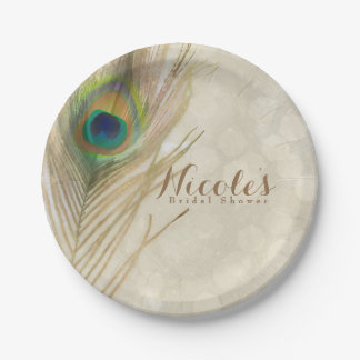 Gold Exotic Peacock Feather Glam Elegant Party 7 Inch Paper Plate