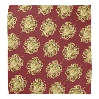 Gold exvoto hearts bandana