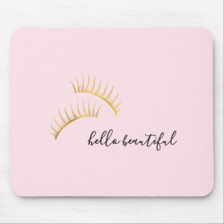 Gold Eyelashes Hello Beautiful Mouse Pad
