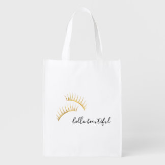 Gold Eyelashes Hello Beautiful Reusable Grocery Bag