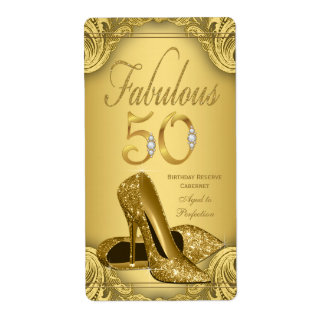 Gold Fabulous 50 Wine Bottle Labels