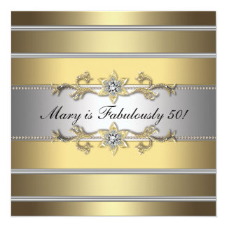 Gold Fabulous 50 Womans 50th Birthday Party Card
