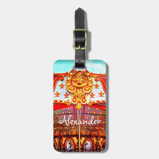 Gold face carousel photo custom name luggage tag