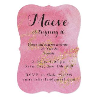 Gold Fairy Dust Sweet 16 Invitation
