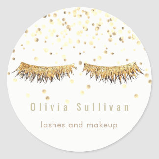 gold fake eyelashes classic round sticker