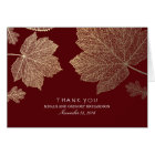 Gold Fall Leaves Burgundy Wedding Thank You Card