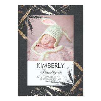Gold Fall Newborn Baby Photo Birth Announcement