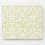 Gold fancy floral damask mouse pad