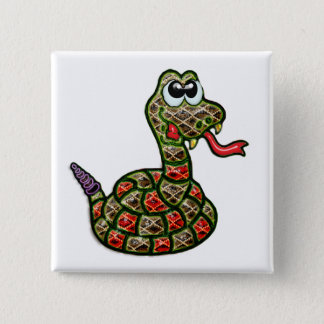 Gold Fanged Rattlesnake 2 Inch Square Button