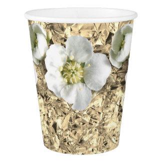 Gold Faux Aluminium Foil Tropical Flower Jasmin Paper Cup