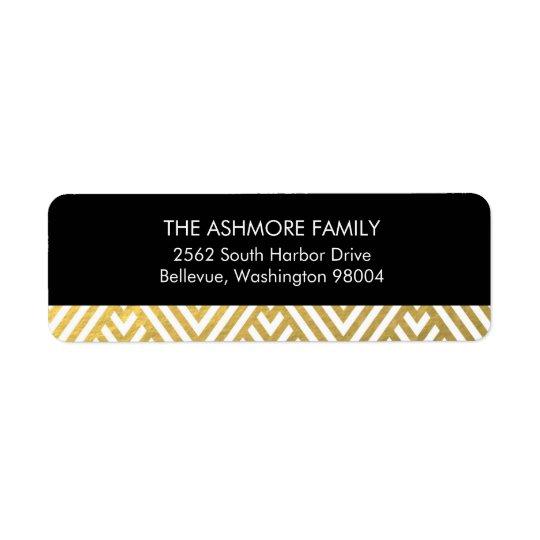 Gold Faux Foil Chevron Address Label