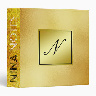 Gold Faux Foil Clean Monogram Personalized Binders