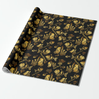 Gold Faux Foil Fish Birthday ADD NAME Gift Wrap