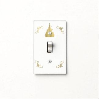 Gold Faux Foil Princess Flag Castle Storybook Light Switch Cover