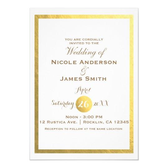 Gold Faux Foil White Elegant Minimal Wedding Card
