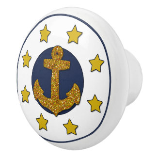 Gold Faux Glitter Anchor   Gold Stars Nautical Ceramic Knob
