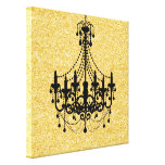 Gold Faux Glitter Black Chandelier Stretched Canvas Print