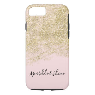 Gold Faux Glitter Blush Pink Sparkle Case-Mate iPhone Case