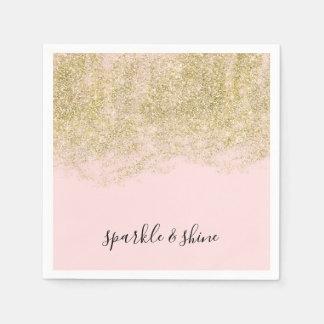 Gold Faux Glitter Blush Pink Sparkle Napkin