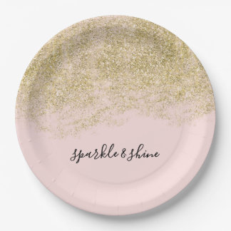Gold Faux Glitter Blush Pink Sparkle Paper Plate
