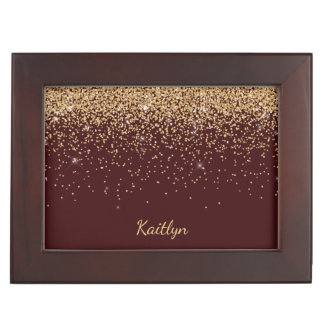 Gold Faux Glitter Burgundy Sweet Sixteen Keepsake Box
