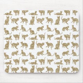 Gold Faux Glitter Cats Custom White Mousepad