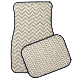 Gold Faux Glitter Chevron Car Mat