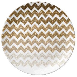 Gold Faux Glitter Chevron Ombre Porcelain Plates